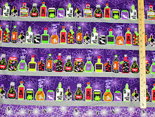 Spooktacular Witches Brew Potions on Shelf PURPLE Halloween Fabric by the 1/2 Yd