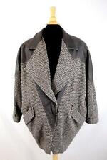 Vintage 90s Womens Concept Dress Coat Overcoat Woven Leather Trim Taupe Large