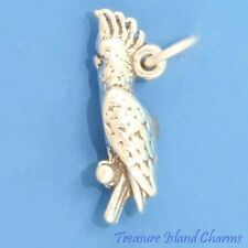 COCKATOO PARROT COCKATIEL BIRD 3D .925 Solid Sterling Silver Charm