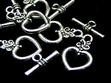 5 x Silver Plated  Heart Toggle Clasps 20mm x 13mm Findings Beads K63