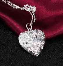 valentine Gift Silver Heart lover locket chain necklace pendant women fashion