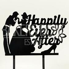 Happily Ever After Prince & Princess Acrylic Wedding Day Cake Topper Silhouette