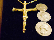 bling gold plated big religious god cross crucifix charm chain hip hop necklace