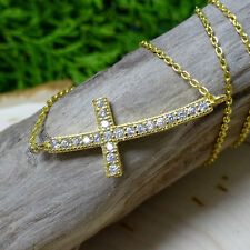 Gold Sideways Cubic Zirconia (CZ) Cross Stainless Steel Necklace
