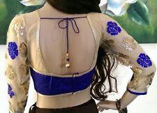 """36-38-40"""" S-M Saree Blouse Indian Bollywood Designer Sari Choli Blue Gold B10"""