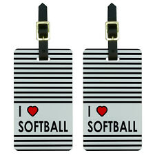 I Love Heart Softball Luggage Suitcase Carry-On ID Tags Set of 2