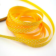 "5 Yards 3/8"" 9mm yellow Point Printed Cute Grosgrain Ribbon for crafts making S1"