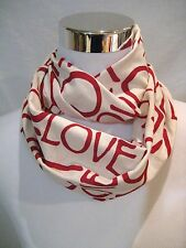 Valentine's Day LOVE Red on Ivory Baby Toddler PHOTO PROP Small Infinity Scarf