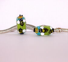 925 STERLING SILVER SINGLE CORE MURANO GLASS ANIMAL BEAD/ HONEY BEES CHARM