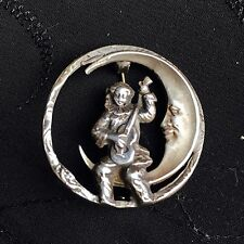 Vintage Cute Sterling Silver 925 Crescent Moon Minstrel Guitar Clown Pin Brooch