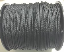 "Solid Braid Nylon Rope 3/16"" x1000' Black color .Made In USA"