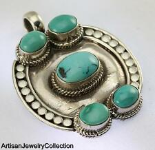 TURQUOISE PENDANT 925 STERLING SILVER ARTISAN JEWELRY COLLECTION H149