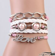 HOT Infinity LOVE Heart Pearl Friendship Antique Silver Leather Charm Bracelet !