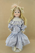 "26"" antique bisque shoulder head German Doll with kid leather body"