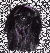 LIV BARBIE DOLL PARTS MONSTER HIGH WIG HAIR with Bangs Black w/ Purple
