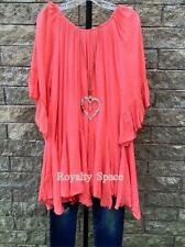 Boho-Gypsy Girl/ Woman Dress in Coral Loose Fit Urban Peasant Tunic Plus Size-4x