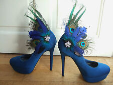 Peacock Feather Crystal Blue Green Shoe Clips SCB110 Pair to Match Fascinator