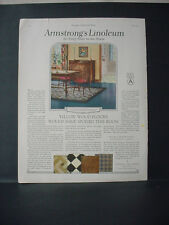 1924 Armstrong's Linoleum Flooring Full Page Color Vintage Print Ad 11777