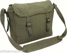 Retro Olive Green Army Style Canvas Webbing Haversack Satchel Messenger Bag