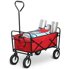 Folding Collapsible Utility Wagon Garden Cart Shopping Beach Toy Sports Cart Red