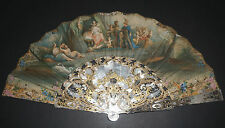 ANTIQUE VICTORIAN FRENCH CARVED MOTHER OF PEARL PAINTED ALEXANDER ROXANNE FAN