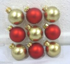 "Christmas MINI 1.5"" Glass Ball Red Gold Matte Ornaments Set of 9"