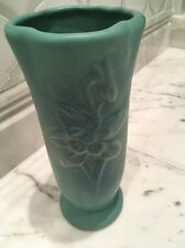 Early VAN BRIGGLE Poppies and Pods TURQUOISE BLUE Art Pottery VASE Arts & Crafts