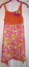 RARE EDITIONS Dress 14.5 Girls Plus Size Sundress Multi Flowers Orange Pink