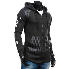 2016 Black Winter Men Sports Slim Hoodie Jacket Coat Outwear Hooded Overcoat L