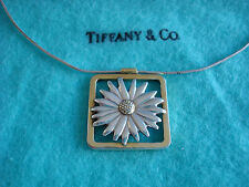 TIFFANY & CO. ~ STERLING & 18K GOLD DAISY NECKLACE ~ box,pouch ~ RARE BEAUTY!!