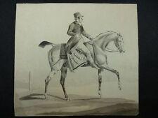 """Biedermeier Aquarell """"Pferd mit Reiter"""" 1.Hälfte 19.Jh. / unbekannter Künstler"""