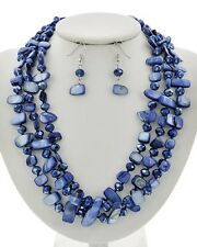 Three Strand Montana Blue Faceted Glass Bead Shell Bead Necklace Earring Set