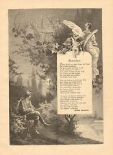 Cupid, Angel, Poem, Serenade, Moonlight, Vintage 1893 German Antique Art Print