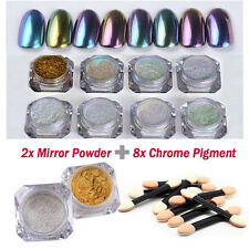 Nail Art Mirror Powder Sequins Chrome Pigment Glitters with Brushes Manicure DIY
