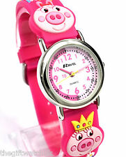 New Ravel Girls Kids Pig Time Teacher Watch, Hot Pink 3D Strap, Free UK P&P