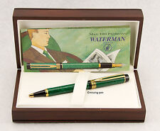 Waterman LE MAN 100 Patrician Green Marbled and Gold Ballpoint Pen with box