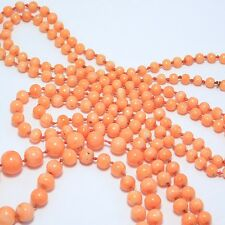 LONG STRAND ANTIQUE SALMON CORAL BEADS GRADUATED