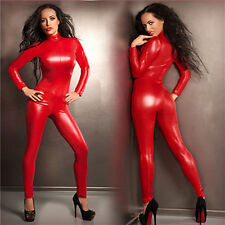 Sexy Catwoman False Leather Zipper Wetlook Jumpsuit Catsuit Red Club Fancy Dress