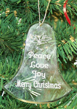 Personalized Crystal Bell Christmas Ornament Custom