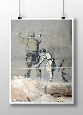 "Banksy Girl Searching a Soldier Archival Canvas Print 30""x20"""
