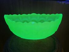 VINTAGE ART DECO GREEN frosted URANIUM GLASS oval (boat shape) POSY BOWL VGC