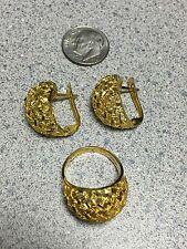 Custom 14K Gold Omega Earrings & Ring Jewelry set (looks like 22k/24k) sz 5.75