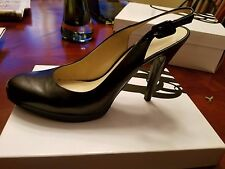 Nine West Black Leather Sling Back Platform Sole, Size 9