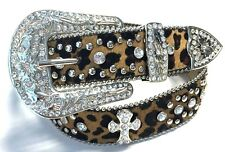 "GREAT GIFT 1.5"" GENUINE CALF HAIR LEOPARD PRINT WESTERN RHINESTONE CROSS BELT SM"