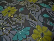 STRETCH JERSEY PRINT-LARGE FLORAL/SILVER FOIL-GREY/GREEN- DRESS FABRIC-FREE P&