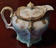 RS Prussia Syrup Pitcher Art Nouveau Mold 647 Antique Porcelain Gilt Beads Roses