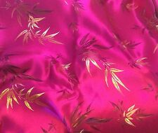 "Faux Silk BROCADE Fabric HOT PINK BAMBOO 9""x22"" remnant"