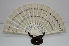 AB130 ANTIQUE FAN. CARVED STICKS. TULLE AND LENTILS. FRANCE. 19th CENTURY