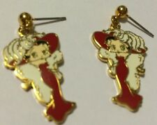BETTY BOOP DRESSED UP ELEGANT FANCY RED DRESS WITH BIG HAT DANGLE EARRINGS