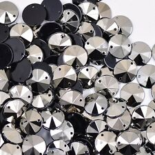 NEW! 100 pcs x Sew On  10 mm Acrylic Rhinestones Silver Color Round  Shape